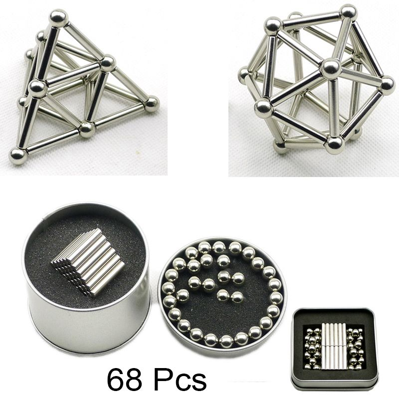 68 Pcs Mini DIY Building Blocks Magnet Construction Magnetic Stick and Balls Product puzzle Toy, Brain Training and Learning.