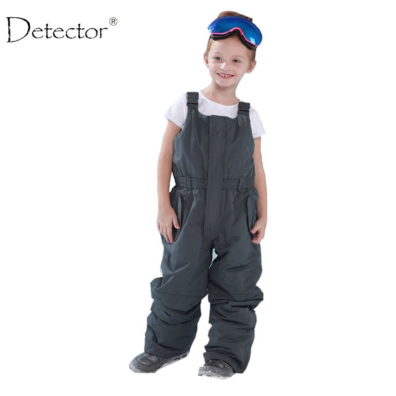 Detector children outdoor padded trousers boys and <font><b>girls</b></font> winter skiing pants overall jumpsuit strap romper <font><b>girl</b></font> bib 92-134