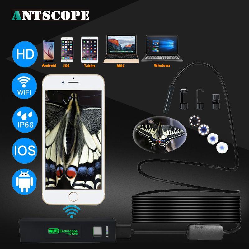 Antscope hd1200p Wi-Fi эндоскоп Камера Android IPhone бороскоп IP68 Водонепроницаемый Камера эндоскопическая полужесткие жесткие трубки IOS Cam