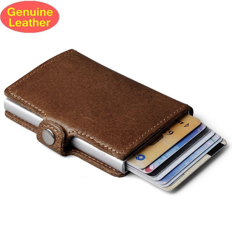 Véritable cuir hommes en aluminium portefeuille poche arrière ID support de carte rfid blocage Mini magique portefeuille automatique carte de crédit porte-monnaie