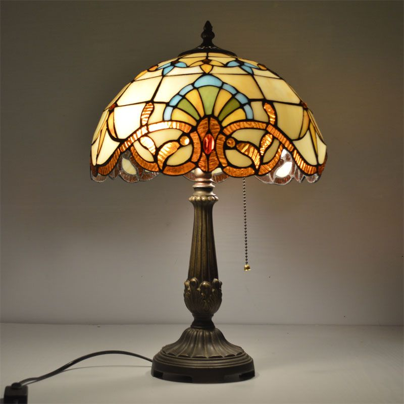 12 Inch Tiffany Table Lamp Stained Glass European Baroque Classic for Living Room E27 110-240V