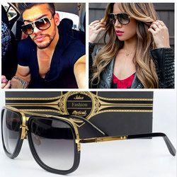Coodaysuft Classique Marque Designer Flat Top Miroir Soleil Lunettes Carré Or Mâle Femelle Superstar Surdimensionné Hommes lunettes de Soleil Femmes