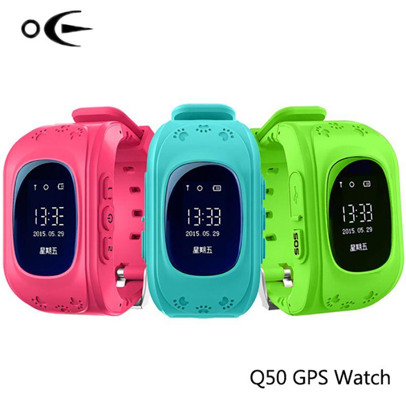 Q50Astuto Della Vigilanza Del Capretto Sicuro Orologio Da Polso OLED GPS Finder Locator Tracker SIM SOS Anti-Perso Smart Vigilan