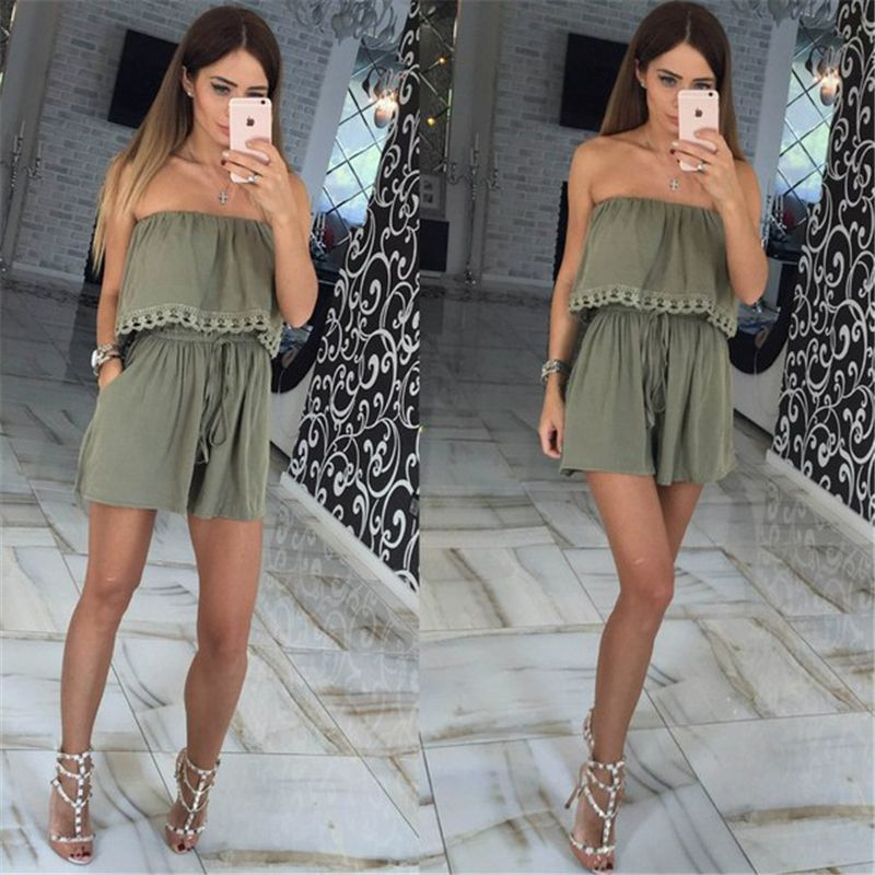 2017 Autumn women Jumpsuits leisure sexy strapless chest wrapped piece shorts Fashion rompers Women jumpsuit Solid Playsuits