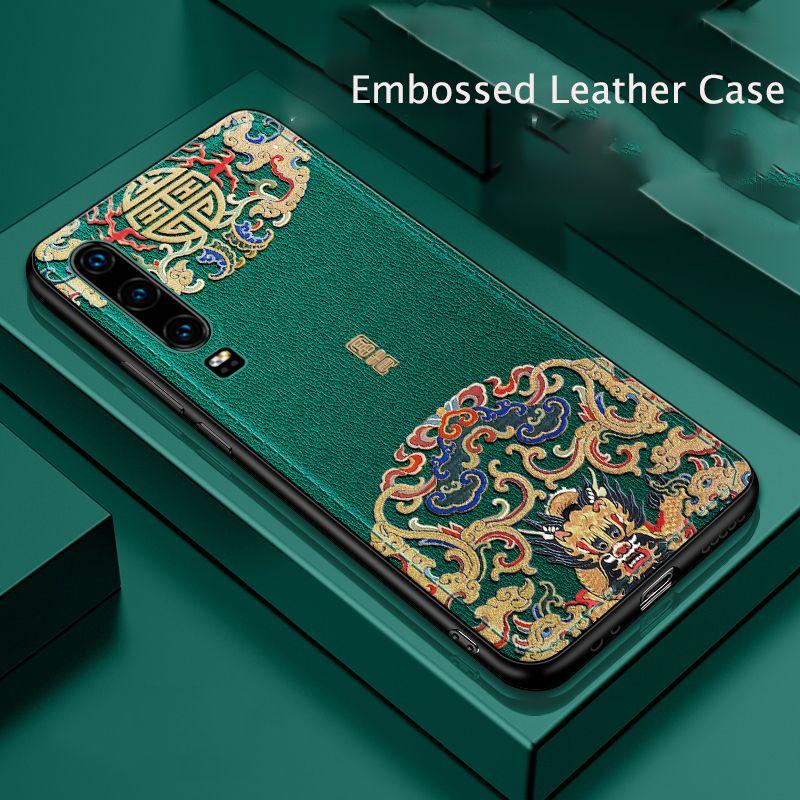 Pour Huawei P30 P30 Pro étui Anti-empreinte digitale antichoc PU cuir gaufré Ultra-mince couverture pour Huawei P30 P30 Pro Funda