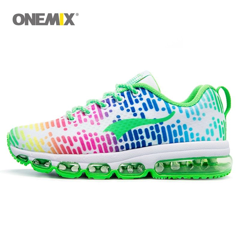 ONEMIX Women Sport Shoes Green Trainers Lady Fitness Sneakers Nice Music Air Running Shoe Female Pink Color Adult size EU 36-46