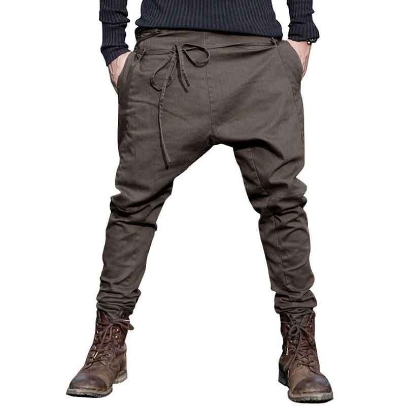 men Harem Pants brand 2017 Casual Sagging pants men Trousers Crotch Pant Men Joggers Feet pants hanging crotch