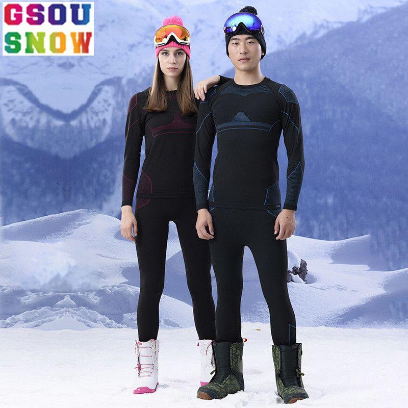 Marke GSOU SCHNEE Ski Unterwäsche Frauen Männer Lange Unterhosen Skifahren anzug Quick Dry Thermische Ski Jacke Hose Atmungsaktiv Winter Outdoor mantel