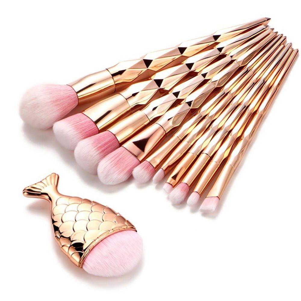 11Pcs Diamond Rose Gold Makeup Brush Set Mermaid Fishtail Shaped Foundation Powder Cosmetics Brushes Rainbow Eyeshadow Brush Kit