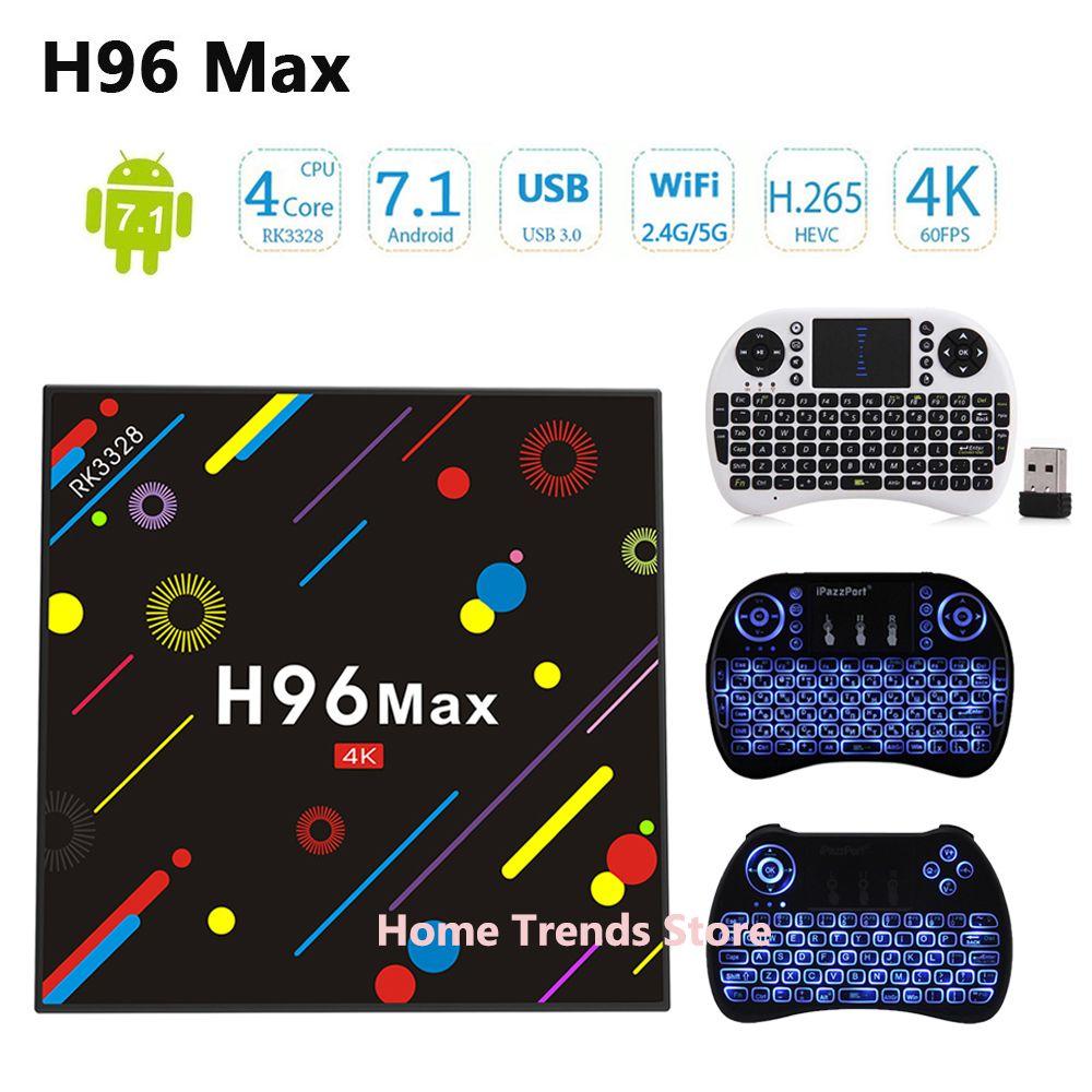 H96 MAX H1 TV Box Update version H96 Max H2 Android 7.1 4G 32G Set Top Box RK3328 2.4G/5G Wifi Bluetooth 4.0 4K Media Player