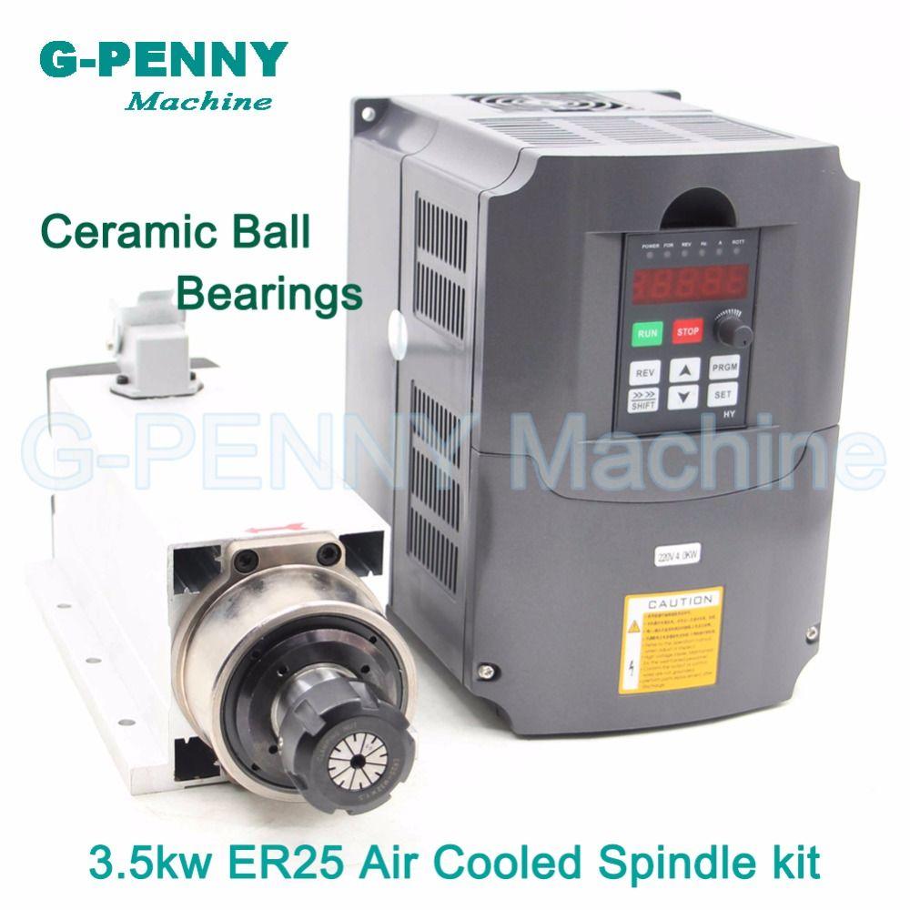 New ! 220V/380v 3.5KW 4bearings CNC Air Cooled Spindle Motor ER25 Air Cooling motor spindle ceramic ball bearing & 4kw inverter