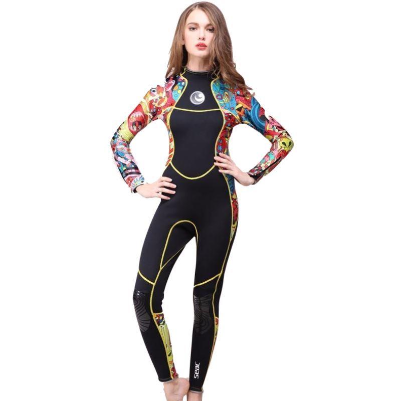 Große größe Frauen Speerfischen Neoprenanzug 3mm Neopren Badeanzug Mädchen Tauch Surfen Schwimmen Nass Anzug Badebekleidung langarm strand