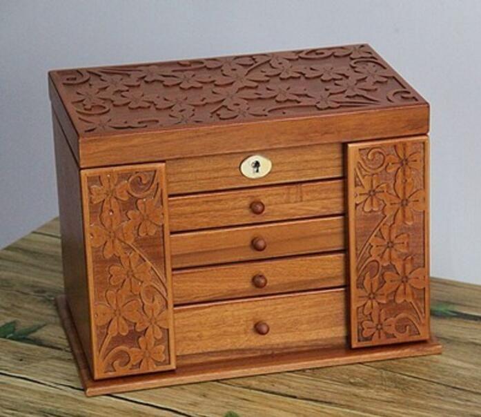 Boîte à bijoux en bois véritable trèfle style rétro grand multicouche mariage vacances cadeau maquillage organisateur boîte de rangement étui 34*25*23 cm