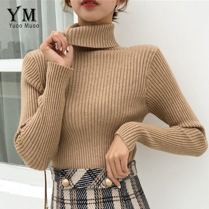 YuooMuoo Good Quality Comfy Turtleneck Sweater 2019 Women Korean Style Pullover Jumper Winter Top Knitted Sweater Pull Femme