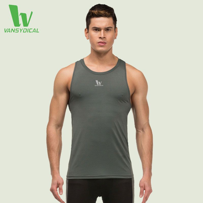 VANSYDICAL Running Vest Mens Sportswear Running Shirts Compression Tights Gym Tank Men Top Fitness Sleeveless T-shirts Sport Top
