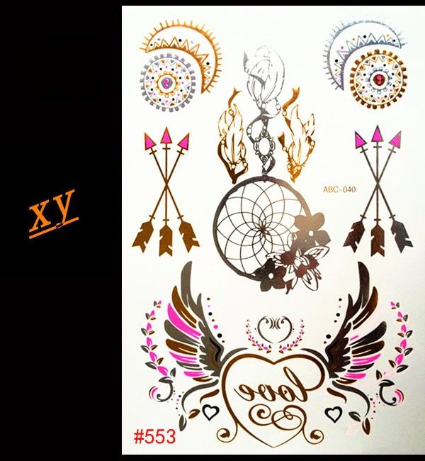 2016 Body art temporary tattoo demon angel tattoo flash metal gold fashion tattoo stickers