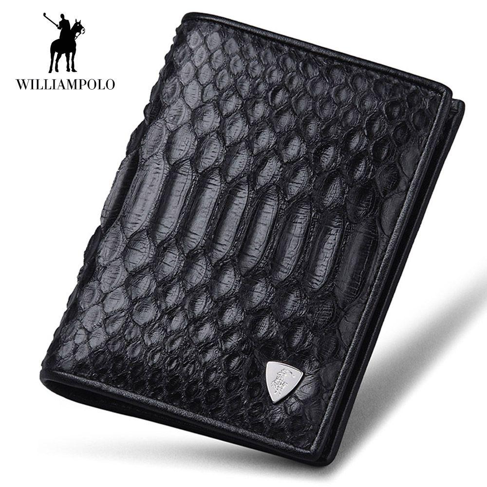 WilliamPOLO Men Wallet Short Genuine Leather Snakeskin Bifold Money Wallet Coin Case Holder Cash Pocket Python Skin Black 2018