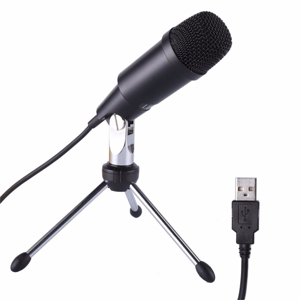 LESHP Portable Wired Audio USB Microphone Plug &Play With Tripod Home Studio for Skype Recordings
