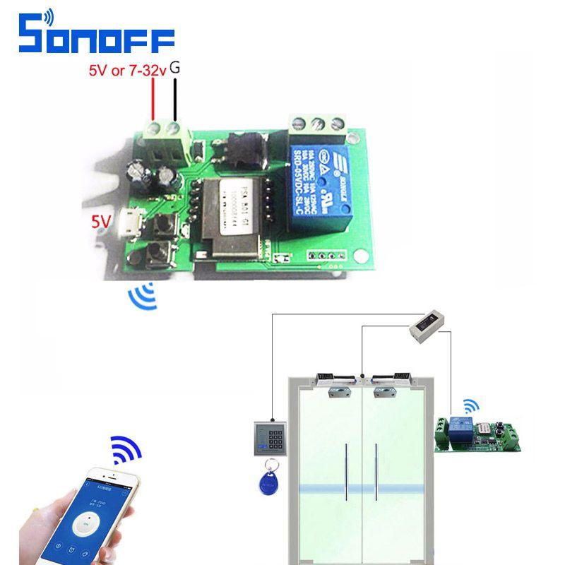 Sonoff wifi commutateur sans fil Relais module Smart domotique pour accès à un Ordinateur dc5V/12 v 24 v 32 v Inching/Auto-Verrouillage IOS