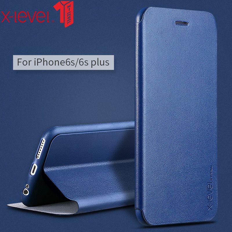 X-Niveau Business Style Cuir Flip Cas de Téléphone Pour Apple IPhone 6 6 S 6 Plus 6 S Plus De Luxe Cas Couverture Mobile Téléphone Accessoires