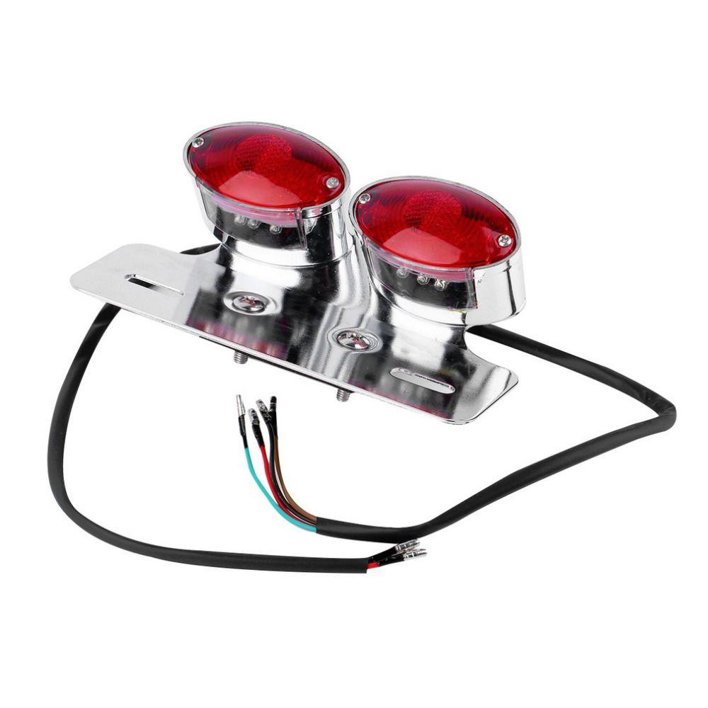 New Racer Bobber Custom Motorcycle Tail Light Twin Oval LED Stop light Rear Brake lamp hot selling
