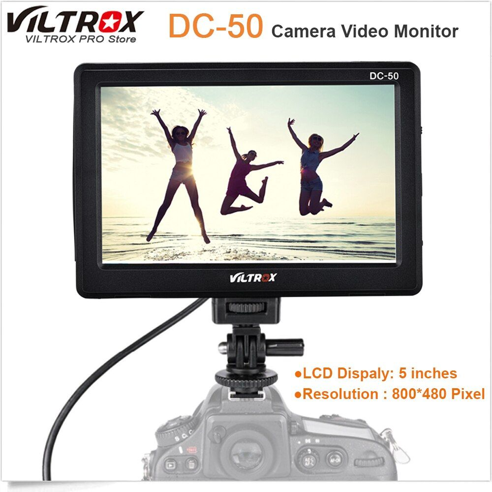 Viltrox DC-50 Portable 5'' Clip-on LCD HDMI Camera Video Monitor for Canon Nikon Sony A7 A9 A7II A7SII A6500 A6300 DSLR BMPCC