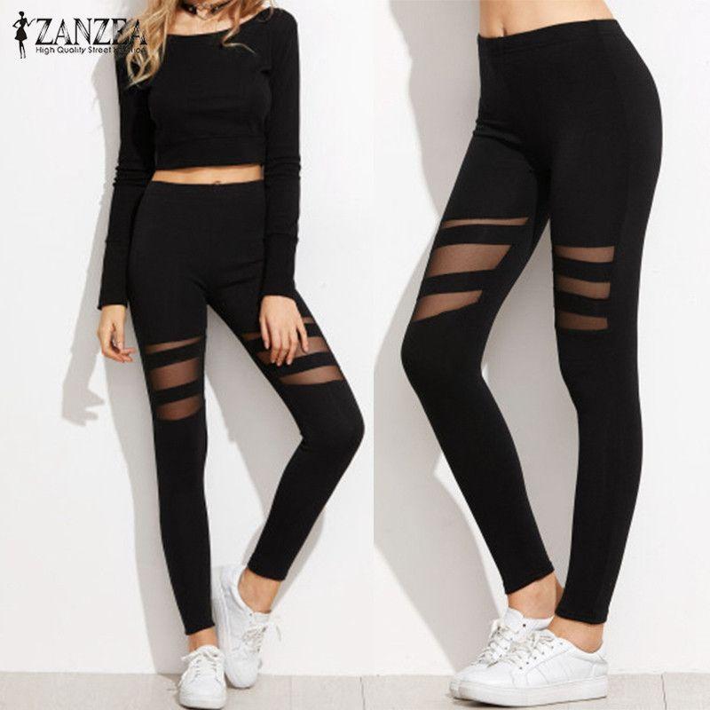 ZANZEA Casual Leggings Women Fitness Color Block High Waist Leggings Sexy Mesh Workout Insert Leggings Plus Size Black Pants