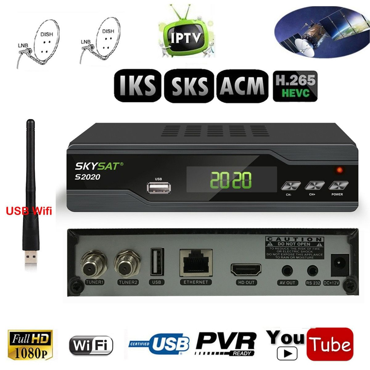 Twin Tuner IKS SKS ACM IPTV H.265 Satellite Receiver for South America Europe Middle East Asia Support Wifi 3G Cccam IKS CS DLNA