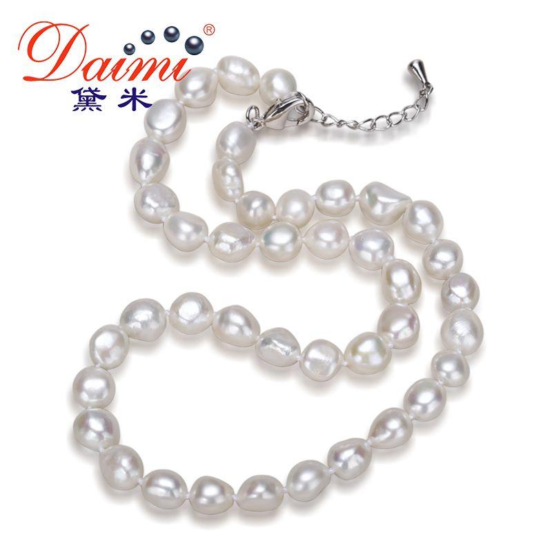 Daimi véritable collier de perles baroques, collier tendance pour femme, nouvelle Bijouterie Fine bijoux 9-10mm collier ras du cou de perles