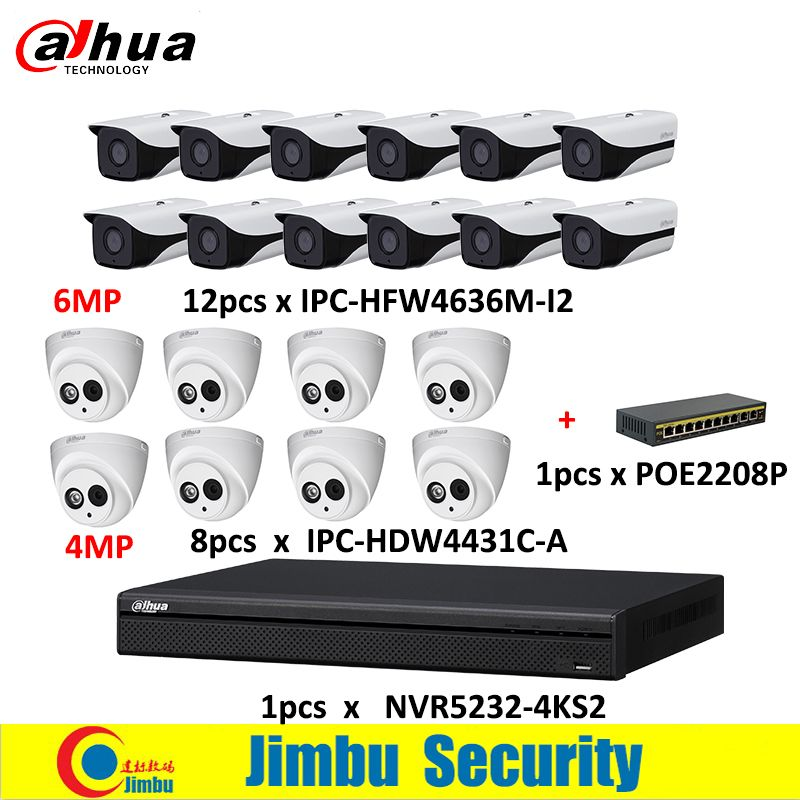 Dahua NVR kit 1pcs NVR5232-4KS2 & 6Mp IP camera 12pcs lens3.6mm IPC-HFW4636M-I2&8pcs lens2.8mm IPC-HDW4431C-A & 1pcs POE2208P