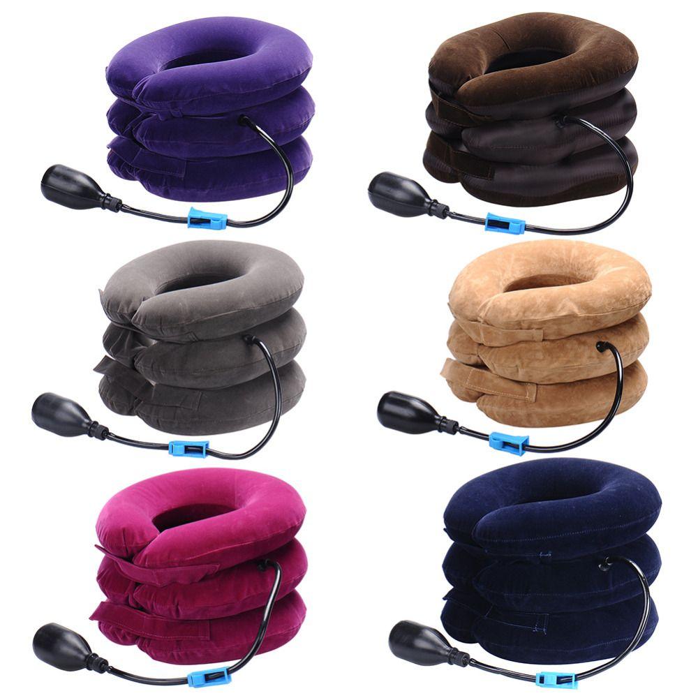 Cervical inflable aire Masajeadores de cuello tracción Masajeadores de cuello masaje suave dispositivo unidad para dolor de cabeza hacia atrás del hombro Masajeadores de cuello dolor cuidado de la salud