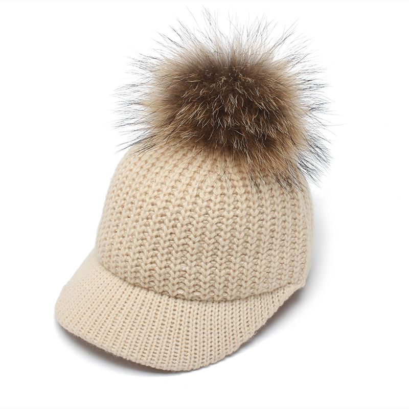 ROSELUOSI Autumn Winter Baseball Caps For Women Real Raccoon Fur Pom Poms Knitted Hat Casual Solid Color Bone Feminino