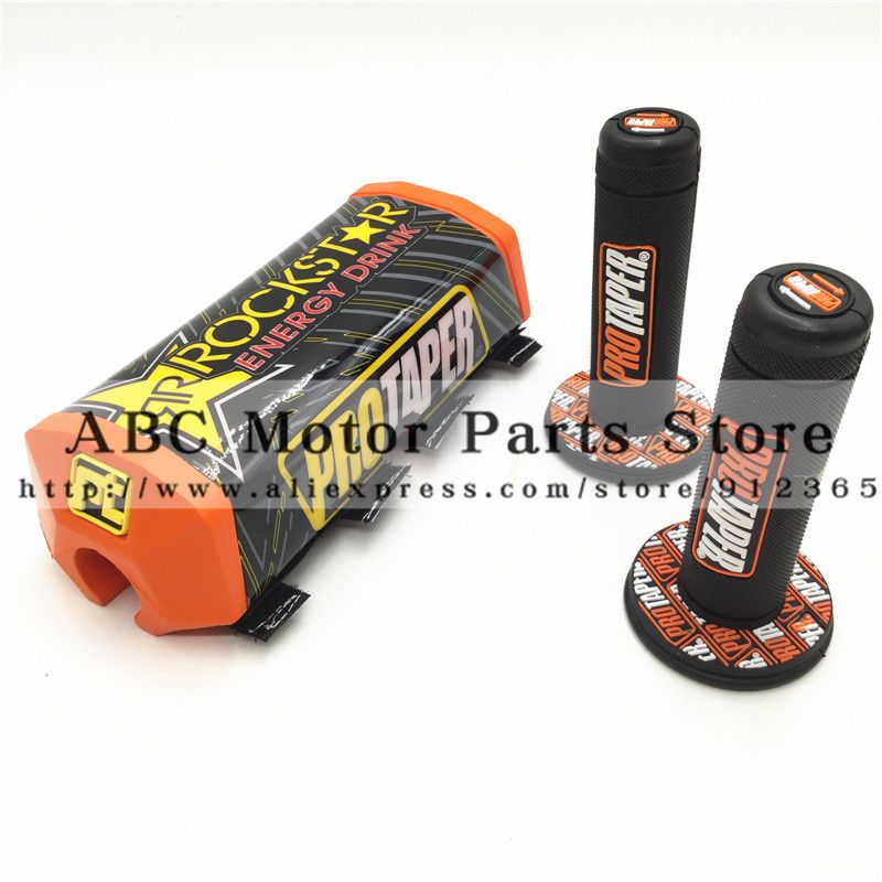 Orange Dirt Pit bike PROTECTOR MOTOCROSS BAR PROTAPER <font><b>Handlebar</b></font> Breast Pad & handle grips PRO grip Rockstar <font><b>Handlebar</b></font> Pads