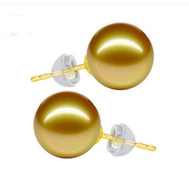 12mm Natural Mar Del Sur de Oro Perla de Oro Pendiente Del Perno Prisionero