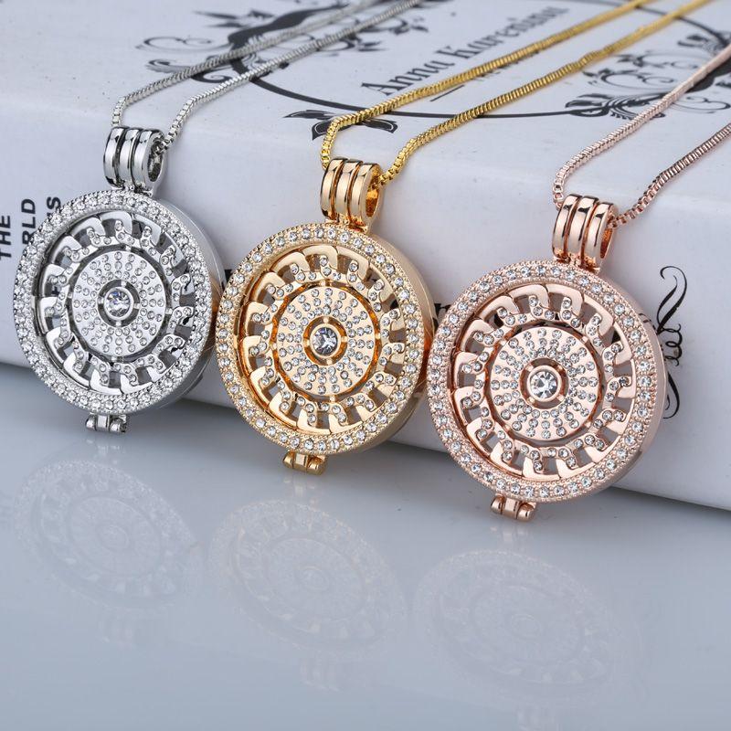 Nouveau collier suspendu en or rose 35mm collier de mode pour mes pièces de 33mm disque en cristal pour cadre pendentif femmes cadeau