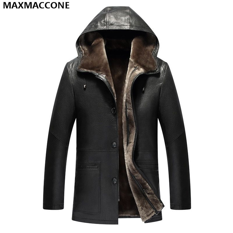 2018 Men Black Single Breasted Hood Genuine Shearling Coat Plus Size 4XL Winter Real Thick Sheepskin Russian Coat FREE SHIPPING