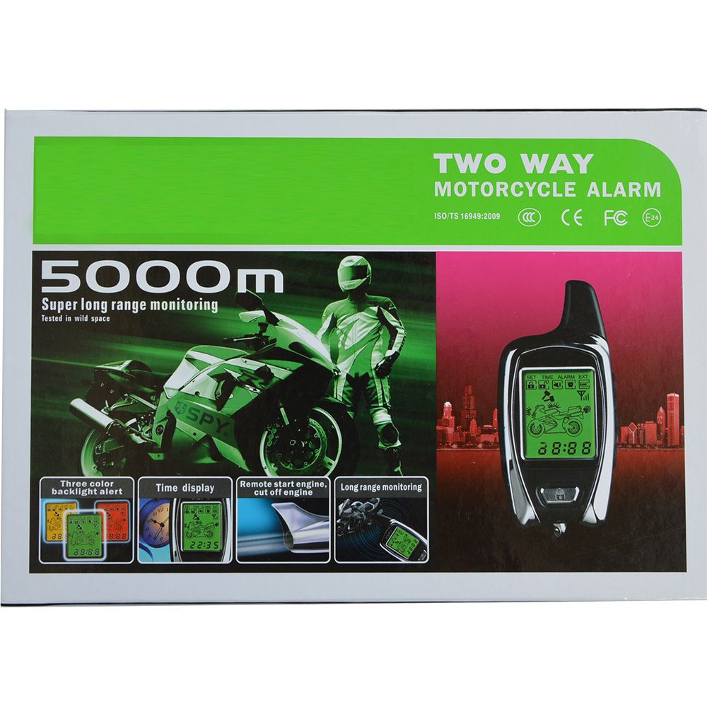 BANVIE High Quality Original from SPY 5000m Two Way Anti - theft Motorcycle Alarm With 2 LCD Transmitters Remote Engine Start