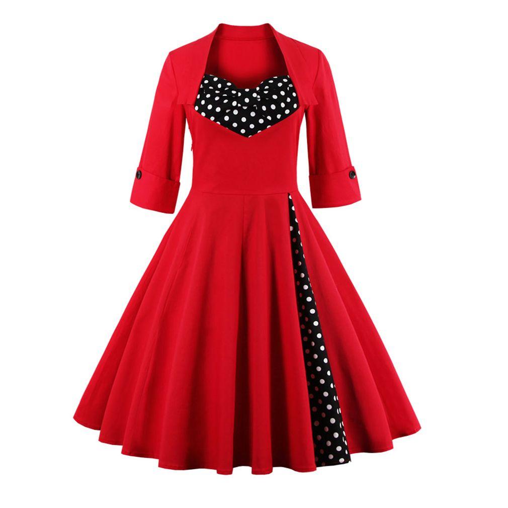 2017 50 s Vintage robe de noël pour les femmes élégant automne Patchwork robe décontracté soirée fête Swing robe de grande taille Vestidos