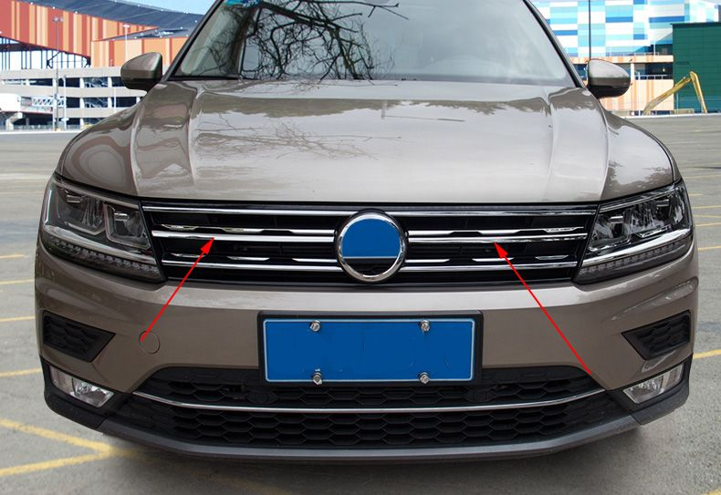refit front hood billet grille grill mesth horizontal sticker style FOR VW TIGUAN mk2 Europe version 2016 2017 2018