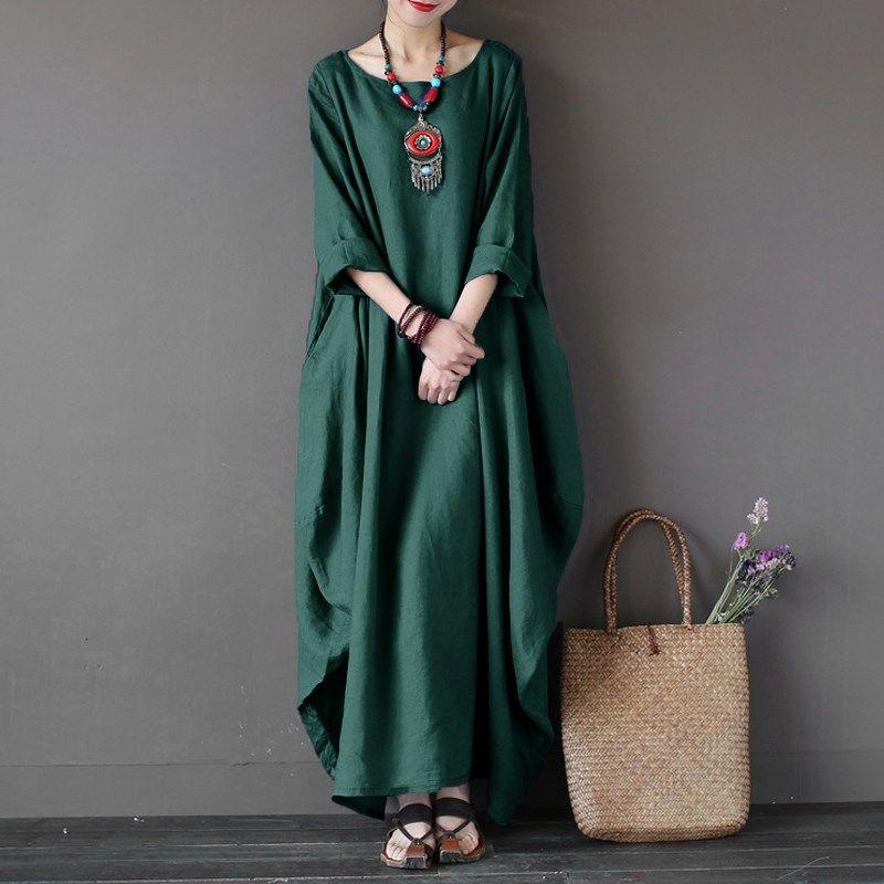 2018 ZANZEA Femmes Ras Du Cou 3/4 Manches Chauve-Souris Baggy Maxi Longue Chemise Robe Casual Partie Kaftan Solide Robe Robe Plus La Taille