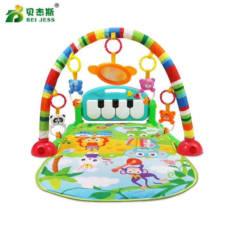 BEI JESS <font><b>Baby</b></font> Carpet 3 in 1 Multifunctional Piano Develop Crawling Musical Projection Play Mat Child Education Racks Toy