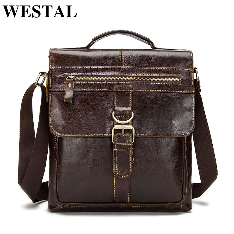 WESTAL Messenger Bag Men Shoulder Bag Genuine Leather Male Man Casual Tote men's Crossbody bags For men leather Handbags 1292