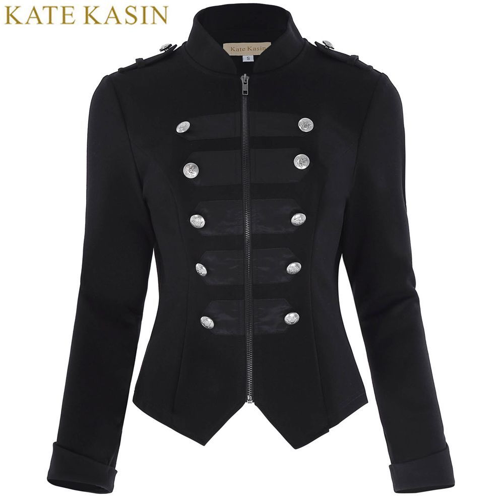 Kate Kasin Military Jacket Women Black Long Sleeve Button Decorated Zipper Vintage Gothic Victorian Coats Corset Tops Outerwear