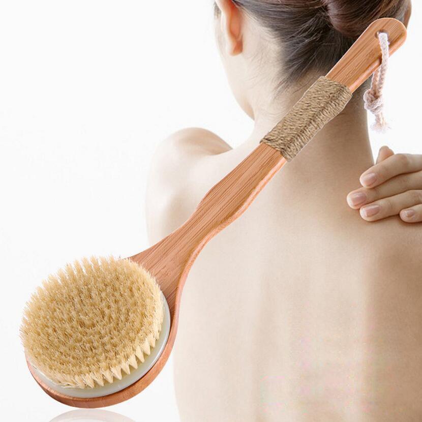 Sèche Drush naturel porc crinière traitement de dérapage en bois corps Massage santé bain brosse corps lavage gommage propre exfoliant corps brosse