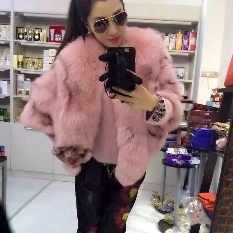 women natural real fox fur jacket with real fox fur big collar short coat half sleeve fashion lady winter warm outwear for party