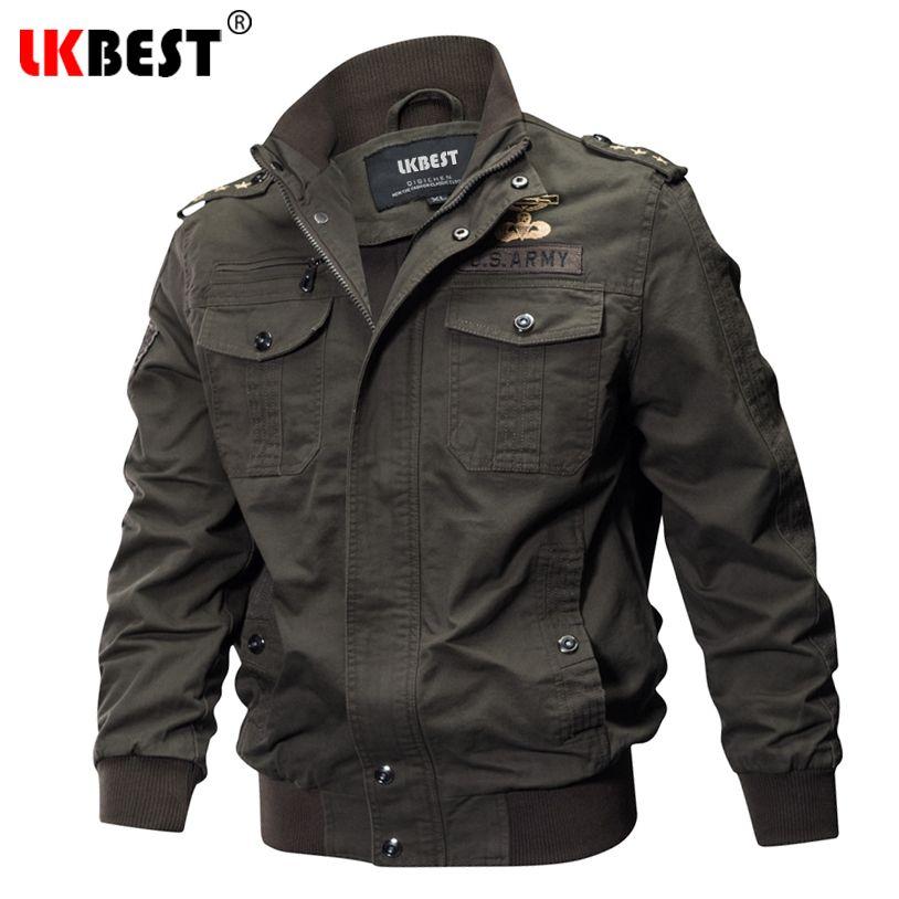 LKBEST 2018 Spring Men Bomber Jacket Air Force Pilot Jacket Men Badge Military Jacket Plus Size M-5XL Thin Cotton Coat FX12