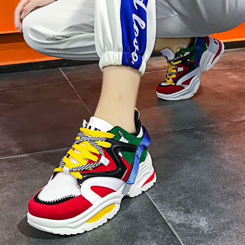 Femmes chaussures de course amorti respirant maille hauteur augmentant 6 CM INS Ulzza Harajuku baskets extérieur appartements chaussures de marche