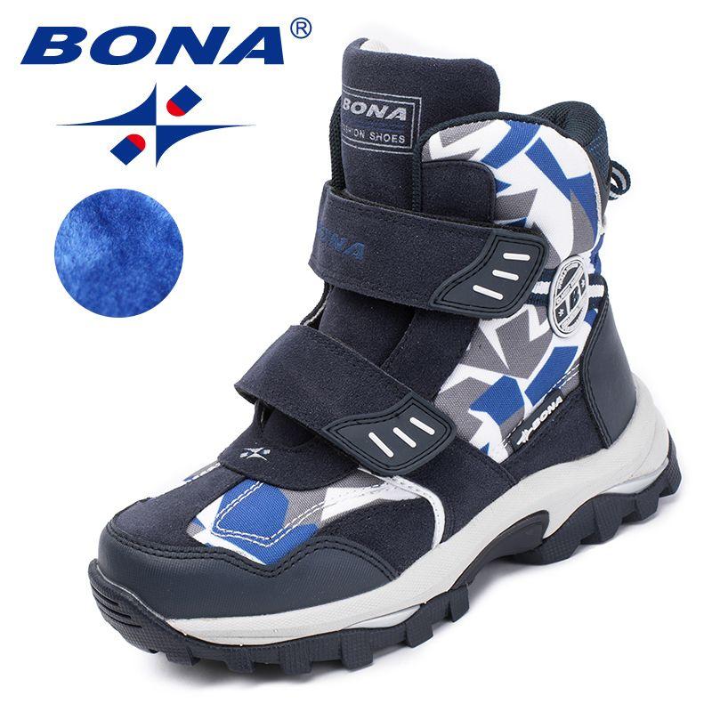 BONA nouveau Style populaire enfants bottes crochet et boucle garçons chaussures d'hiver bout rond filles bottines confortable rapide livraison gratuite