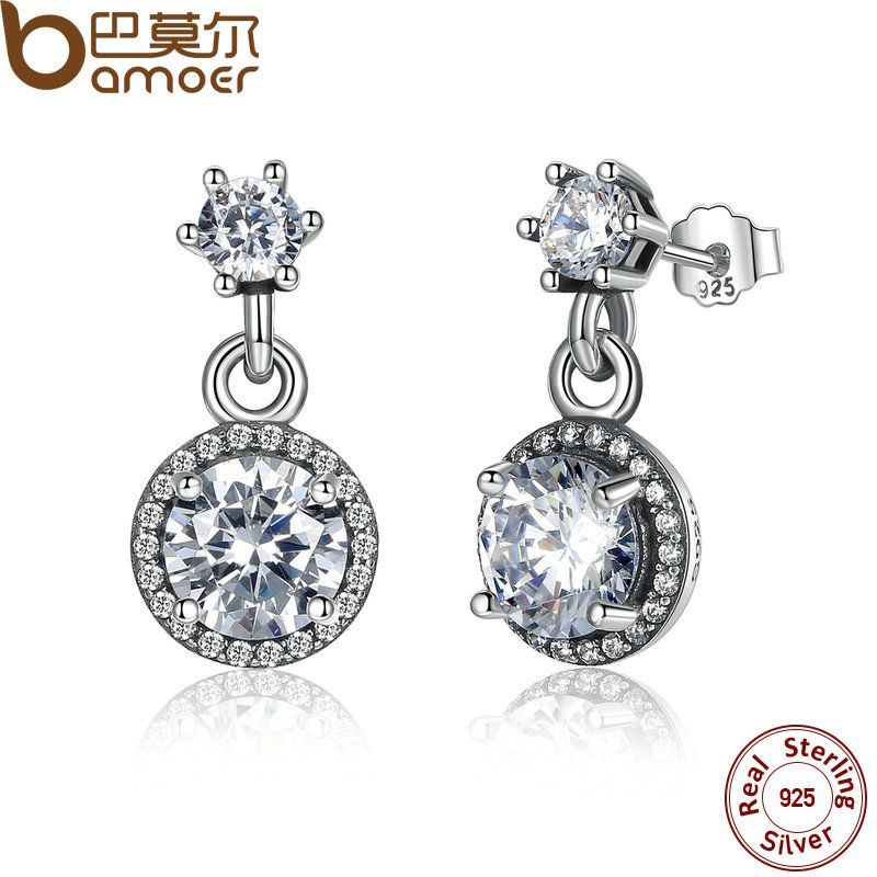 BAMOER 100% 925 Sterling Silver Classic Elegance, Clear CZ Round Cut Push-back Women Drop Earrings Jewelry PAS467