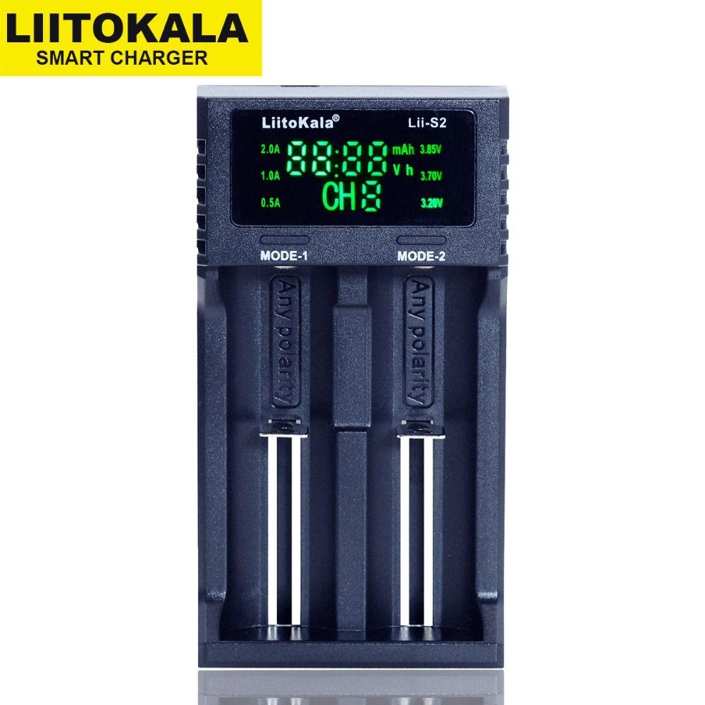 2018 Liitokala Lii-S2 LCD 3.7V 18650 18350 18500 16340 21700 20700B 20700 14500 26650 1.2V AA AAA NiMH lithium-battery Charger